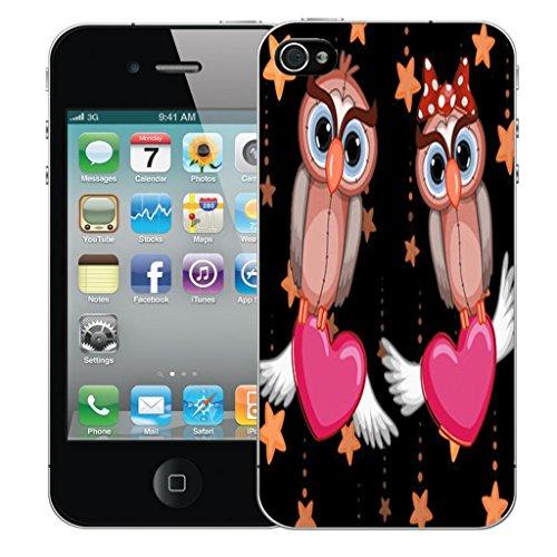 Nouveau iPhone 4s clip on Dur Coque couverture case cover Pare-chocs - Rose sagittarius Motif avec Stylet pink lovebird owls