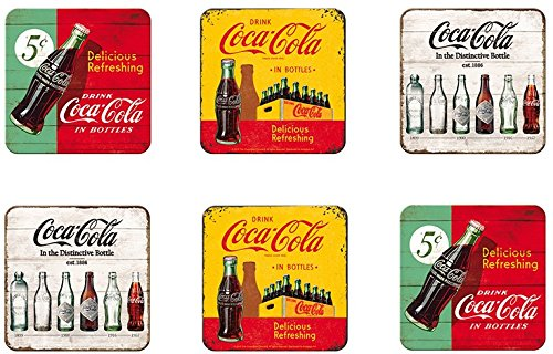 6 tlg Set Untersetzer - 9 x 9 cm - Coca Cola Retro Motive