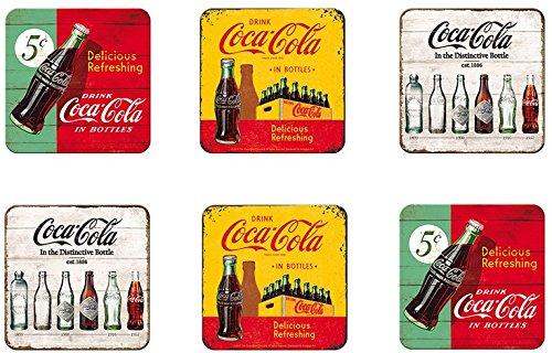 6 tlg Set Untersetzer - 9 x 9 cm - Coca Cola Retro Motive (Coca-cola-flaschen Deckel)