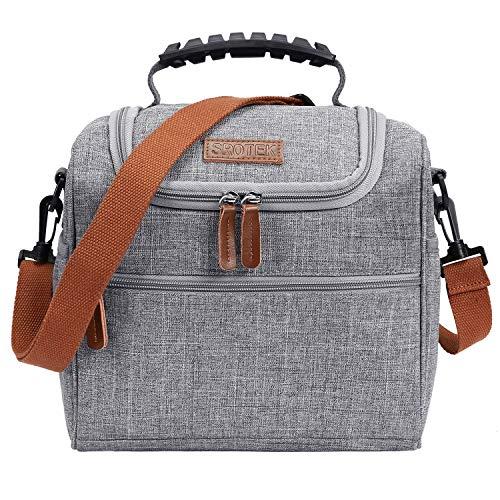 Coolbell sacco per il pranzo borsa pranzo isolata grande refrigeratore per pranzo borsa in tela con tracolla staccabile per donne, uomini, adulti, resistente all'acqua e leggera e multitasche, grigio