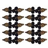 perfk 10 Paare Traditionelle Herz Chinesische Knoten Frosch Verschluss Nähen Stricken Klein Knöpfe Set - Schwarz und Gold, 79 x 22 x 8 mm