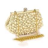 Yamyannie Frauen Clutch klassisch schick Damen Vintage Abendtasche Party Perlen Tasche Abend Handtaschen Damenhandtaschen (Farbe : Gold)