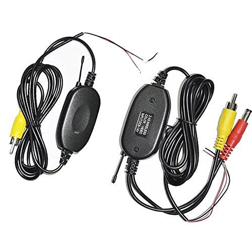 wzmirai 2,4gHz RCA inalámbrico transmisor y receptor de vídeo color Kit para el vehículo Backup aparcamiento Vista posterior de copia de seguridad cámara/cámara frontal de coche conectar monitor