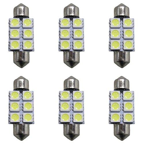Muchkey® de voiture ampoules LED Intérieur LED Lampes de voiture Lampes LED double Fastoon 39 mm 6led 5050SMD Blanc Lot de 6