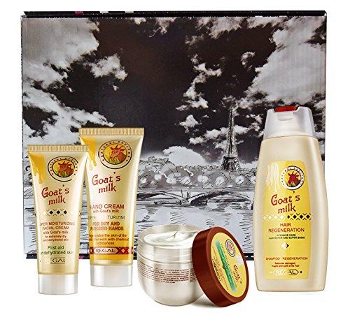 Ensemble REGAL Goat's Milk-crème hautement hydratante, crème mains, shampoing et baume pour les cheveux au lait de chèvre