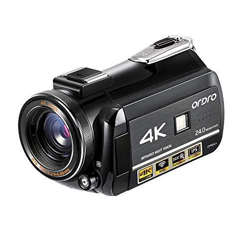 ORDRO 4K Ultra HD Camcorder mit 4K Videoaufnahme, 1080P 60FPS Video Kamera WiFi Camcorder mit IR Nachtsicht, Pausenfunktion, 3.1''IPS Touchscreen, Fernbedienung - Kamera Videoaufnahmen Für