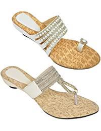 Combo Of Two Stony Stylish Multicolor Heel Sandal For Women (foot_1546_2_1321_1355_wht)