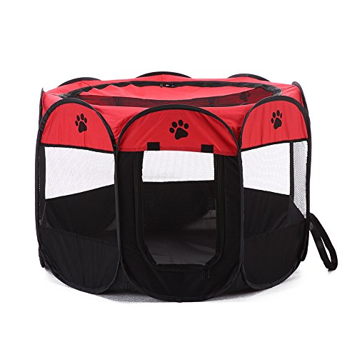 MAXINV Portable Foldable Pet Playpen Travel Dog House Pet Tent Oxford Cloth Waterproof Large Space Sleeping Sports Suitable For Indoor Or Outdoor,Red,91 * 58