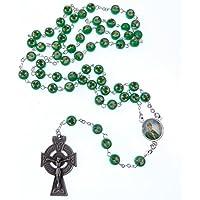 Verde acceso Irlandese St. Patrick rosari shamrock argento celtico crocifisso