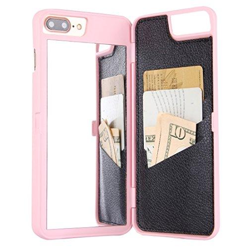 GHC Cases & Covers, Für iPhone 7 Plus Rückseiten-Art-Spiegel-harter Fall mit Einbauschlitz ( Color : Pink ) Pink