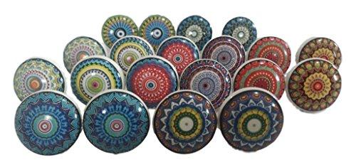knobsworld 20Colorful pomos de cerámica armario asas tiradores de cocina cajón Puller