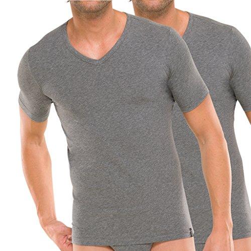 Schiesser 95/5 T-Shirt kurzarm V-Ausschnitt - 205429 - 2er Spar-Pack (6 Grau-melange) (Pima-baumwolle Unterwäsche Herren)