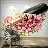 Xbwy Große Wandgemälde Champagner Sprudelnde & Rosa Rose Blume 3D Fototapeten Tapete Für Küchenraum Tv Hintergrund 3D Wand Coverins-200X140Cm