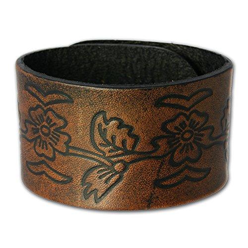 SilberDream Lederarmband braun mit Verzierungen für Herren oder Damen Leder Armband Echtleder LA3271B