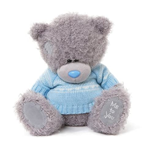 Me to You 9-inch Tatty Teddy Bear Wearing a Knitted Jumper Sits (Grey/ Blue)