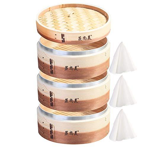 Hcooker Vertiefen Zwei Töne 3-Tier Küche Holz Dampfer mit Edelstahl-Banderolieren für Asiatische Kochbrötchen Mehlklöße Gemüse Fischreis
