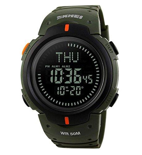 Marken-Mann-Sport-Uhren 5ATM Wasser-Beweis-Digital-im Freienuhr EL-Hintergrundbeleuchtung-Kompaß-Countdown-Armbanduhren , army green