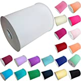 "TtS 6""x100 yards(300FT) Tulle Roll Spool Tutu Party Birthday Wraping Crafts Bridal Bow Skirt Wedding Decor - White"