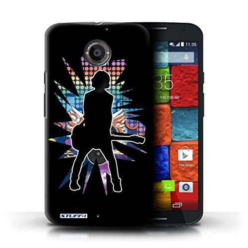 Kobalt® Imprimé Etui / Coque pour Motorola Moto X (2014) / Atteindre Blanc conception / Série Rock Star Pose émotion Noir