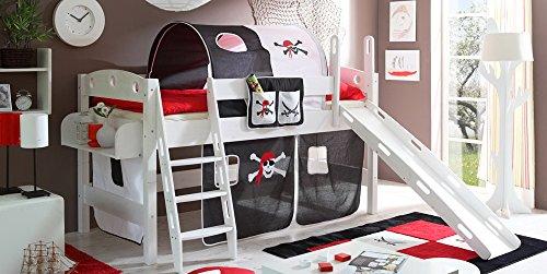 lifestyle4living Kinderbett, Rutschbett, Kiefer,00% Baumwolle Schwarz-Weiß mit Piraten, Liegefläche 90x200 cm, Maße:B/H/L 98-121/119/207 cm