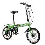 Bicicleta Plegable De 16 Pulgadas De Velocidad Bicicleta/Bicicleta De Montaña De Absorción De Impactos Para Niños Y Niñas (se Puede Colocar En El Maletero)(Green)