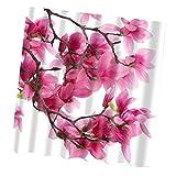 Sharplace Polyester Duschvorhang Anti-Schimmel - Rote Blumen, 180cm × 180cm