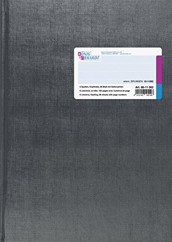 Konig & Ebhardt 8611062-7106P96KL - Libreta cuadriculada A4 (con 6 columnas, 96 hojas, con barra para título)