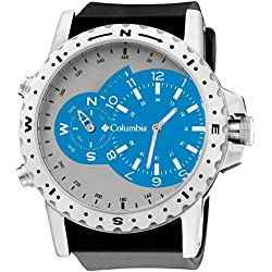 Columbia Men's CA002451 Waypoint Silver-Tone and Blue Compass Analog Sports Watch