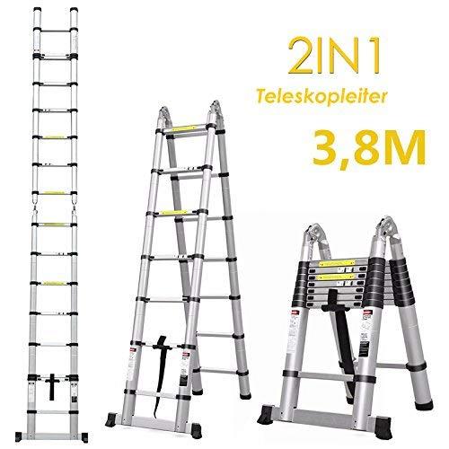 FEMOR 3.8M Alu Klappleiter und Teleskopleiter mit erweiterter Grundlage Aluleiter Sprossenleiter Schiebeleiter Klappleiter (3.8M mit Standfuß))