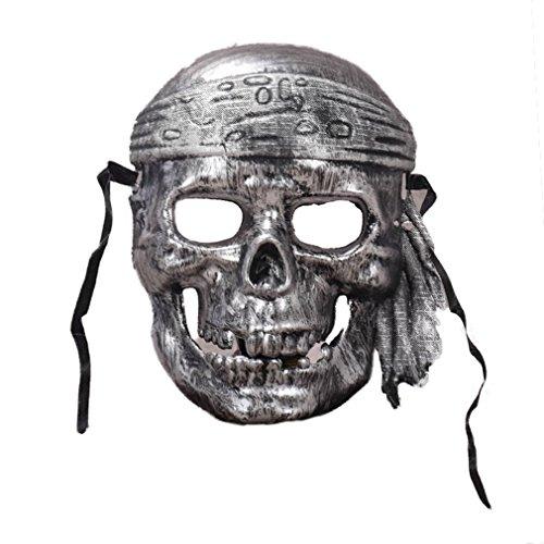 d Maske Horror Scary Skelett Piraten Halloween Party Bar Kostüm Masquerade Maske (Silber) (Scary Skelett Halloween Kostüme)