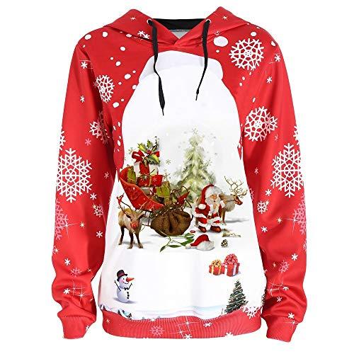 VEMOW Heißer Elegante Damen Frauen Herbst Frohe Weihnachten Plus Size Pullover Deer Elk Gedruckt Casual Täglichen Party Skew Neck Sweatshirt(X6-Rot, EU-36/CN-L)