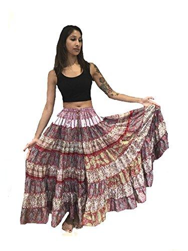... 1 - 7 Yard Tribal Zigeuner Maxi Taille Rock Bauchtanz Röcke Silk Blend  Banjara Für S M L ...