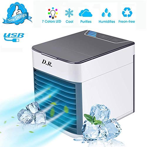D R  Air Cooler, Portable Air Conditioner, Humidifier, Purifier,3-in-1  Portable Mini Air Conditioner, USB Arctic Air Cooler with 7 Colors LED & 3