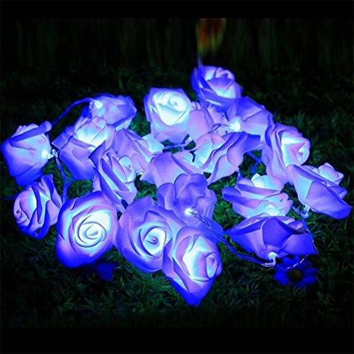 Emwel fiore fata luci 20 LED luci a pile Rose Fiore fata per matrimonio Garden Party Christmas decorazione String Lights (blu)