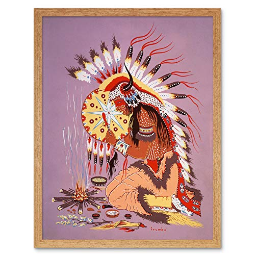 Wee Blue Coo LTD Painting Native American Dian Shaman Fire Feather Spirit Art Print Framed Poster Wall Decor Kunstdruck Poster Wand-Dekor-12X16 Zoll (American Blue Light Spirit)