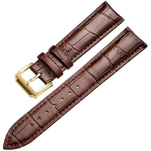 Splento Cinturino Cinturino dell'orologio Cinturino in Vera Pelle Cinturino Cinturino per Tissot Seiko Oro-Marrone 16mm