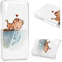 Huawei Y6 Funda - Lanveni® Chic Elegante Carcasa Rigida PC ultra Slim para Huawei Y6 Transparente Protective Back Case Cover - Patrón Pez gato beso Diseño