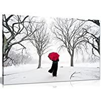 COLOURED RED UMBRELLA IN THE SNOW STUNNING Large 77cm x 55cm Gallery Framed Giclee Canvas Art Picture Print Ready To Hang NEW Modern Wall Art
