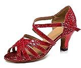 URVIP Neuheiten Frauen's PU Leder Heels Absatzschuhe Moderne Latein-Schuhe mit Knöchelriemen Tanzschuhe LD0100 Rot 33 CN