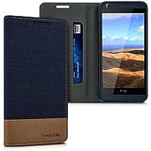 kwmobile Funda para HTC Desire 626G - Case con tapa cover de tela con cuero sintético - Carcasa plegable azul oscuro marrón