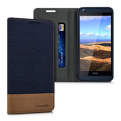 kwmobile HTC Desire 626G Hülle - Stoff Handy Cover Case mit Ständer - Schutzhülle für HTC Desire 626G