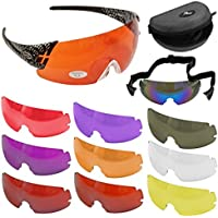 CBC SHOOT-OFF occhiali sportivi da TIRO con 9 lenti INTERCAMBIABILI e accessori