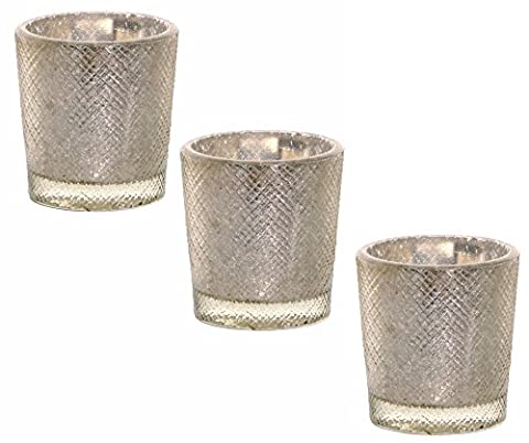 Three Luxury Small Thick Glass Short Diamond Cut Votive Candle Tea Light Holder with Antique Silver