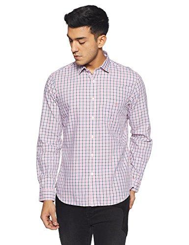 Van Heusen Sport Men's Plain Slim Fit Cotton Casual Shirt (VSSF318S011696_Pink_44)