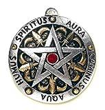 Amulett Pentagramm Spirtus Auro Caminus Aqua Humus Zinn teilcoloriert mit Zirkonia