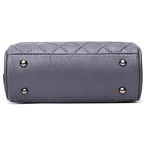 Runde nette Damen Umhängetaschen Messenger Bags Fashion Hand Taschen Frauen PU Leder tragbare Schultertasche Plaid kleine Tasche mit einer Kugel Handtaschen, Grau Schwarz