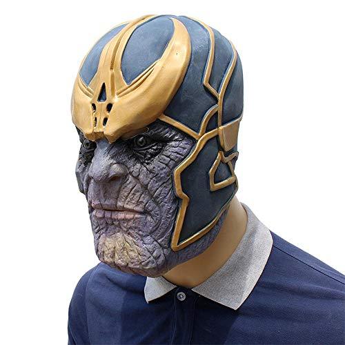 JWTOY Thanos Maske,Latex Helm Vollkopf Masken Für Erwachsene Männer Kostümzubehör Film Avengers Charakter,Kostüm Für Halloween Cosplay - Charakter Kostüm Männer