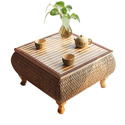 Couchtisch Beistelltisch Bambustisch Kleiner Tisch Zen Teetisch Japanischer Rattan Tatami Couchtische Einfacher Balkontisch Handgewebter Fenstertisch (Color : Wood Color, Size : 60 * 60 * 30CM)