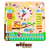 The Wooden Toy Factory - Educational Calendar Clock - Learn Date, Time & Weather