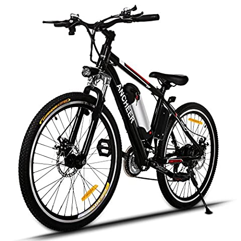 Ancheer Electric Mountain Bike 26 inch E-bike 250W High Speed Gear Motors Bicycle with Removable Lithium-Ion Battery and Battery Charger
